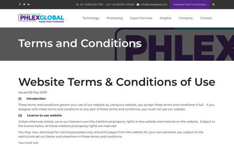 Screenshot of Terms Page phlexglobal.com - Terms and Conditions - captured Dec. 7, 2018