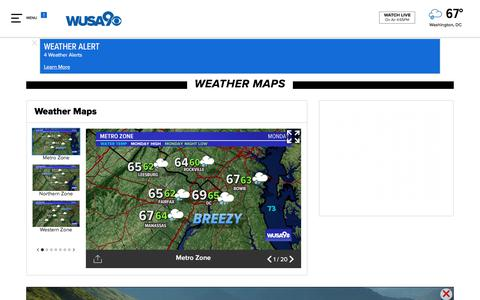 Screenshot of Maps & Directions Page wusa9.com - Weather Maps on WUSA9 in Washington, DC - captured Sept. 24, 2018