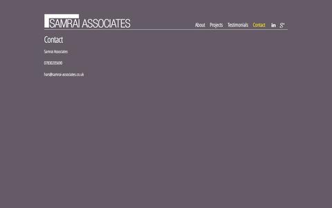 Screenshot of Contact Page samrai-associates.co.uk - Contact | Samrai Associates - captured Sept. 26, 2014