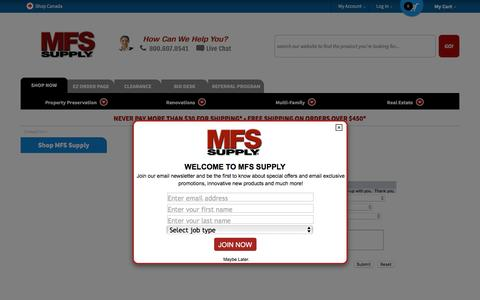 Screenshot of Contact Page mfssupply.com - MFS Supply Contact Us - Quality REO Supplies at low, low prices!  Huge inventory and same day shipping. - captured May 26, 2017