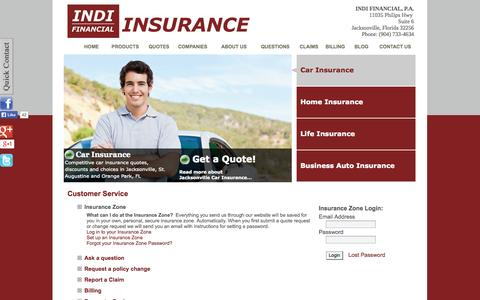 Screenshot of Support Page indifinancial.com - Customer Service - INDI FINANCIAL, P.A. - Jacksonville, Florida 32256 - captured Oct. 3, 2014