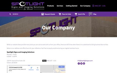 Screenshot of Locations Page spotlightsigns.com - Spotlight Signs and Imaging Solutions : Our Company : Location & Hours - captured Nov. 6, 2017