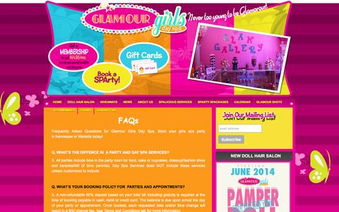 Screenshot of FAQ Page glamourgirlsdayspa.com - FAQs - Spa Parties for Girls in Atlanta | Glamour Girls Day Spa - captured Dec. 9, 2015