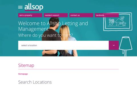 Screenshot of Site Map Page allsop.co.uk - Sitemap | Allsop Letting and Management - captured June 27, 2016