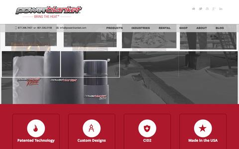 Screenshot of Home Page powerblanket.com - Drum, Tote, & Industrial Heaters from the Industry Leader – Powerblanket - captured Jan. 21, 2015