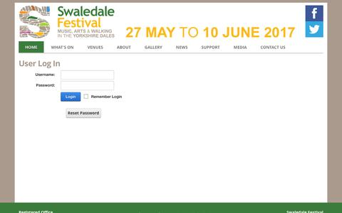 Screenshot of Login Page swaledale-festival.org.uk - User Log In - captured Aug. 15, 2016