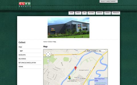 Screenshot of Maps & Directions Page cladsafety.co.uk - Map - Clad Safety - captured Sept. 30, 2014