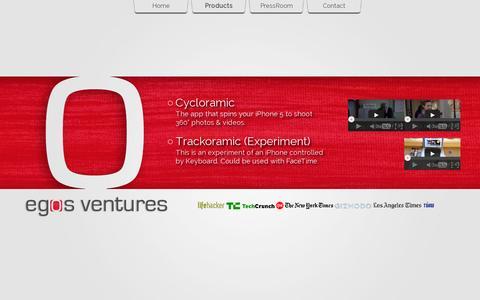 Screenshot of Products Page egosventures.com - Egos Ventures - Products - captured July 19, 2014