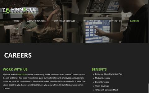 Screenshot of Jobs Page pinnaclesolutionsinc.com - CAREERS | Pinnacle Solutions – Innovative Technologies | Superior Results - captured Aug. 18, 2018
