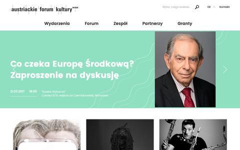 Screenshot of Home Page austria.org.pl - Austriackie Forum Kultury w Warszawie - captured March 12, 2017