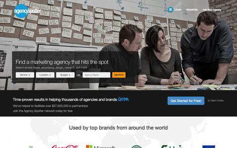 Screenshot of Home Page agencyspotter.com - Agency Spotter - Find Creative Agencies, Digital Marketing Agencies, Design Firms - captured Sept. 17, 2015