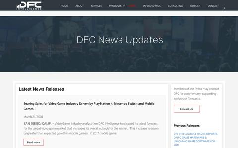 Screenshot of Press Page dfcint.com - News - DFC Intelligence: Game Industry Research - captured Oct. 7, 2018