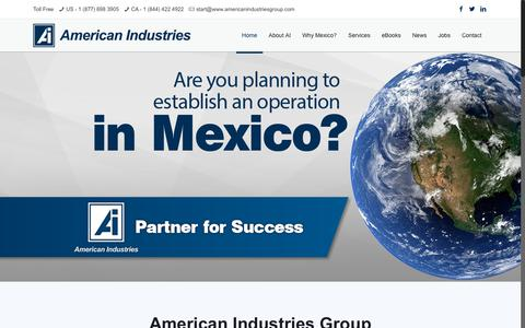 Screenshot of Home Page americanindustriesgroup.com - American Industries – Start up operations Mexico - captured July 29, 2018