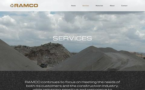 Screenshot of Services Page ramco.us.com - Services | Concrete material pickup, delivery, disposal and recycling - captured Oct. 18, 2018