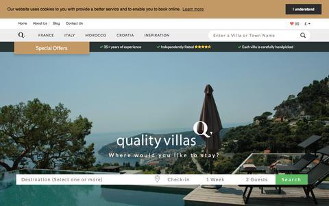Screenshot of Home Page qualityvillas.com - Quality Villas   France, Italy, Croatia, Morocco Holidays   Luxury - captured Sept. 22, 2018