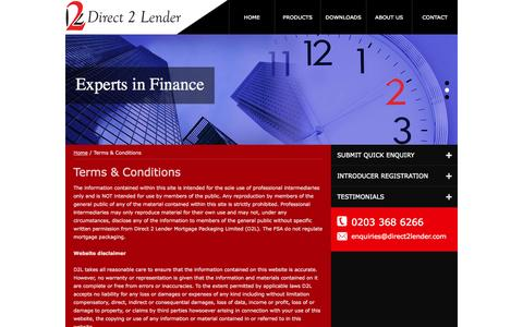Screenshot of Terms Page direct2lender.com - Terms & Conditions   Direct 2 Lender - captured Oct. 5, 2014