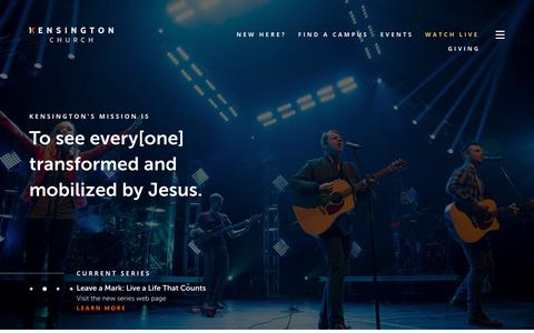Screenshot of Home Page kensingtonchurch.org - Kensington Church - captured Oct. 17, 2017
