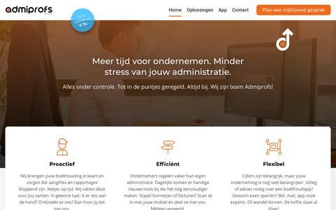Screenshot of Home Page admiprofs.nl - Admiprofs: Administratiekantoor & belastingadvies - captured July 28, 2018