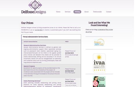 Screenshot of Pricing Page delfossedesigns.com - Delfosse Designs - Virtual Assistant,Virtual Administrative Assistant, Virtual Office, Media Creation, Virtual Service Pricing - captured Sept. 26, 2014