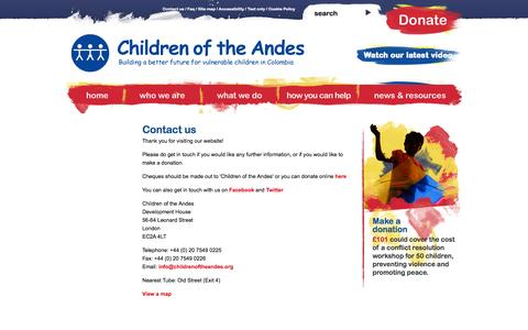 Screenshot of Contact Page childrenoftheandes.org - Contact us ·  Children of the Andes - captured Sept. 29, 2014