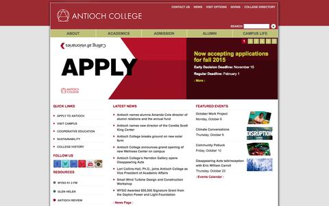 Screenshot of Home Page antiochcollege.org - Antioch College - captured Sept. 30, 2014