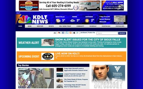 Screenshot of Home Page kdlt.com - KDLT.com South Dakota News - News, Sports, and Weather Sioux Falls South Dakota - captured Jan. 9, 2016