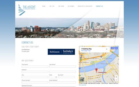 Screenshot of Contact Page Maps & Directions Page yourascent.com - The Ascent at Roebling's Bridge   Contact Us - captured March 12, 2016