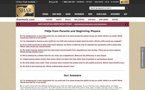Screenshot of FAQ Page sharmusic.com - FAQs from Parents and Beginning Players | SHAR Music - sharmusic.com - captured March 11, 2018