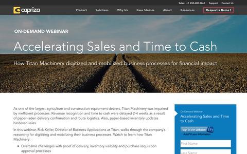 Screenshot of Landing Page capriza.com - Accelerating Sales and Time to Cash | Capriza - captured Nov. 12, 2016