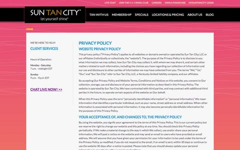 Screenshot of Privacy Page suntancity.com - Privacy Policy - captured Feb. 23, 2016