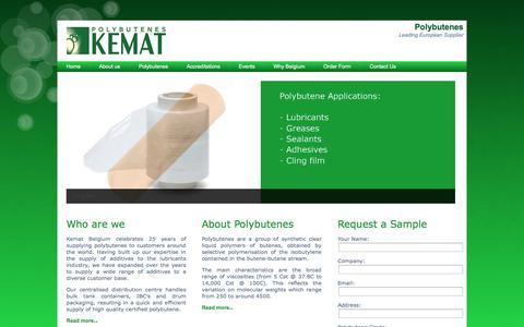 Screenshot of Home Page kematbelgium.com - Polybutene distributor – Kemat Belgium | Polybutenes - captured Oct. 6, 2014