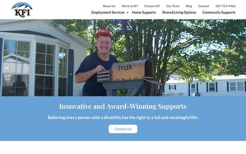 Screenshot of About Page kfimaine.org - About KFI | Katahdin Friends, Incorporated | Millinocket, Maine - captured Oct. 14, 2018