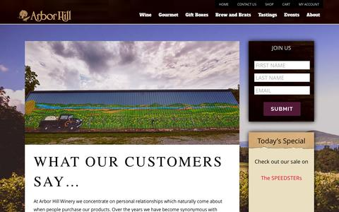 Screenshot of Testimonials Page thegrapery.com - Testimonials | Arbor Hill Winery - captured Feb. 6, 2016
