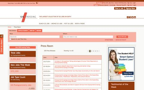 Screenshot of Press Page giscrossing.com - GISCrossing.com News, Press Room, Press Releases | GISCrossing.com - captured July 14, 2018