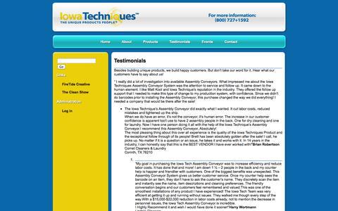 Screenshot of Testimonials Page iowatechniques.com - Testimonials | Iowa Techniques - captured Sept. 26, 2014