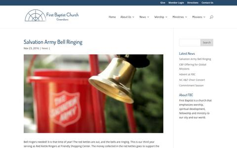 Screenshot of Signup Page fbcgso.org - Salvation Army Bell Ringing | First Baptist Church Greensboro - captured Nov. 25, 2016