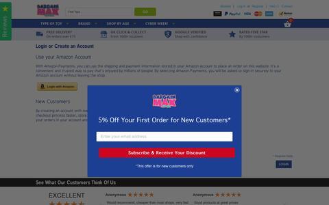 Screenshot of Login Page bargainmax.co.uk - Customer Login - captured Dec. 18, 2018