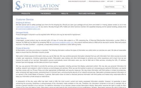 Screenshot of Privacy Page Support Page stemulation.com - Stemulation | Customer Service | World's First Luxurious Facial Regeneration system that mimics the body's natural response to aging and skin damage. - captured Sept. 30, 2014