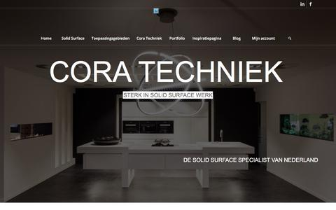 Screenshot of Home Page coratechniek.nl - Cora Techniek is de Corian en HI-MACS specialist van Nederland. - captured July 21, 2018