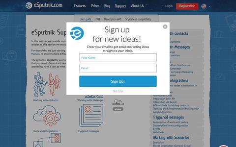 Screenshot of Support Page esputnik.com - eSputnik Support - captured Nov. 20, 2017