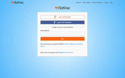 Screenshot of Login Page flatfox.ch - Post free rental listings - flatfox - captured Oct. 11, 2018