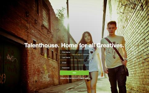 Screenshot of Signup Page talenthouse.com - Talenthouse - captured Jan. 27, 2016
