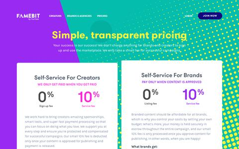 Screenshot of Pricing Page famebit.com - Simple transparent pricing for branded content - captured June 22, 2017