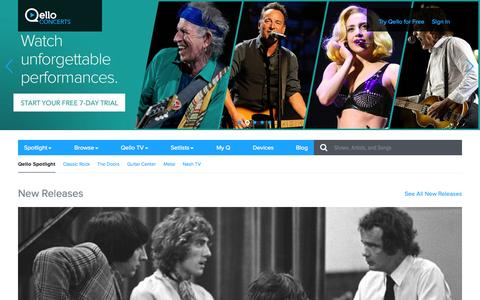 Screenshot of Home Page qello.com - Qello Concerts | Spotlight | Watch Live Concert Films and Music Documentaries On Demand - captured Nov. 1, 2015