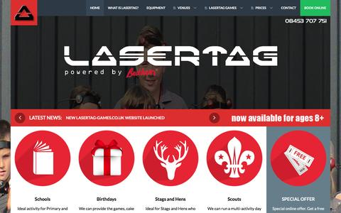 Screenshot of Home Page lasertag-games.co.uk - Outdoor Lasertag Games - Powered by Bedlam - Edinburgh and Glasgow - captured March 5, 2016
