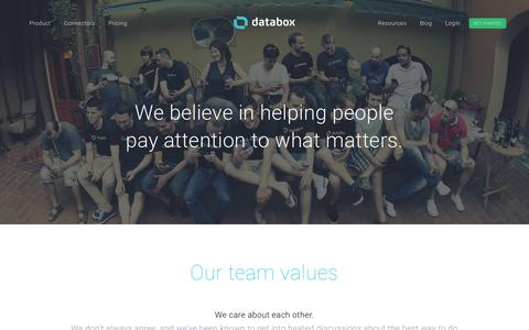 Screenshot of About Page databox.com - About Databox   Our Story   Contact Us - captured July 5, 2016