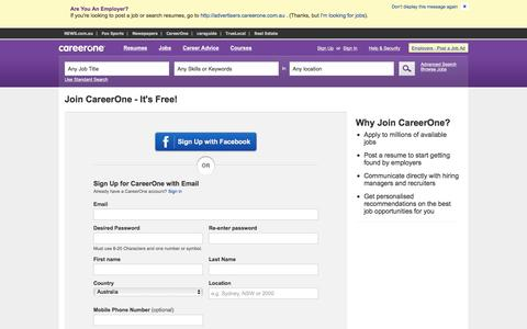 Screenshot of Signup Page careerone.com.au - Find Jobs: Search thousands of jobs now | CareerOne.com.au - captured Aug. 21, 2016
