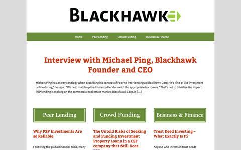 Screenshot of Blog blackhawkcorp.com - Peer Investor, P2p Investing, Secured Investments, Peer Investing - captured Oct. 5, 2014