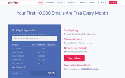 Affordable Transactional Email Pricing for Developers - Mailgun