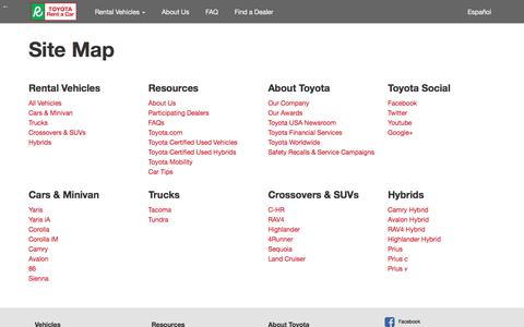 Screenshot of Site Map Page toyota.com - Toyota Rent a Car | Sitemap - captured Nov. 13, 2017